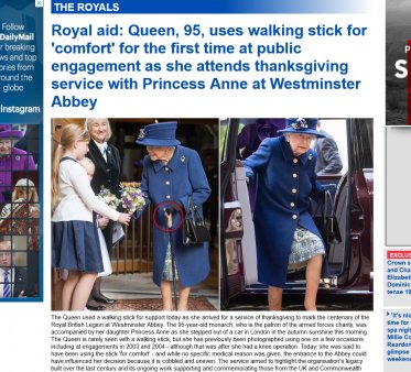 In premiera, regina Elisabeta a folosit un baston in public pentru comoditate