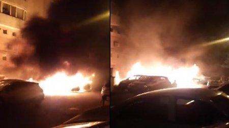 Incendiu violent in Galati. Cinci masini ard in <span style='background:#EDF514'>PARCAREA</span> unui bloc