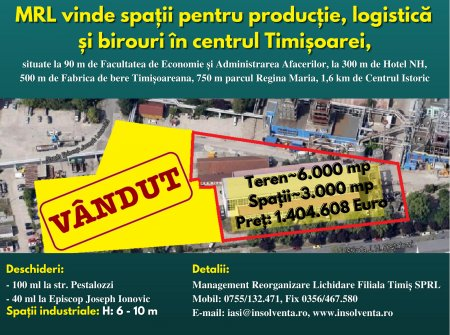 MRL vinde spatii de birouri, logistica si productie in Timisoara, zona Pestalozzi (P)
