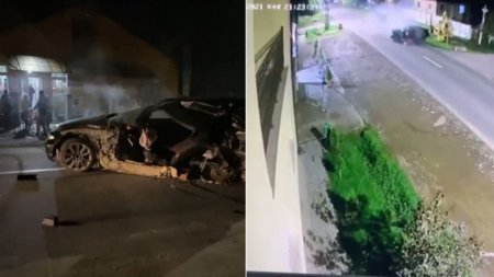 Tanar fara centura aruncat dintr-un BMW rupt in doua, accident filmat in Botiz, <span style='background:#EDF514'>SATU MARE</span>