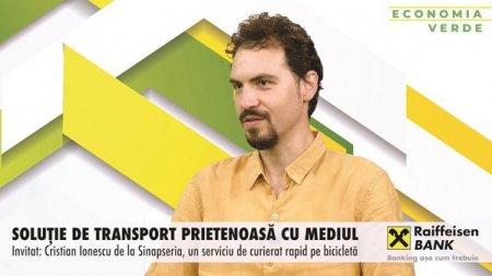 ZF Economia verde. Cristian Ionescu, Sinapseria, un serviciu de curierat pe bicicleta: In 2014, mergeam ore intregi prin Bucuresti fara sa vad vreun biciclist. Acum vedem foarte multi. Sinapseria livreaza cam 100-150 de <span style='background:#EDF514'>PACHETE</span> zilnic, iar daca se adauga si livrarile de mancare, ajunge la 600-700 de livrari pe zi