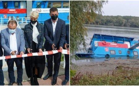 Pontonul inaugurat de Raluca Turcan in Tulcea, scufundat partial dupa 3 saptamani