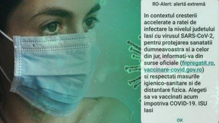 Mesaj Ro-Alert, dupa ce rata de infectare in Iasi a atins un nivel record: Alegeti sa va vaccinati acum!