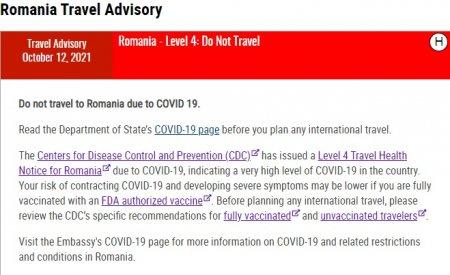 Departamentul de Stat al SUA: Nu calatoriti in Romania!