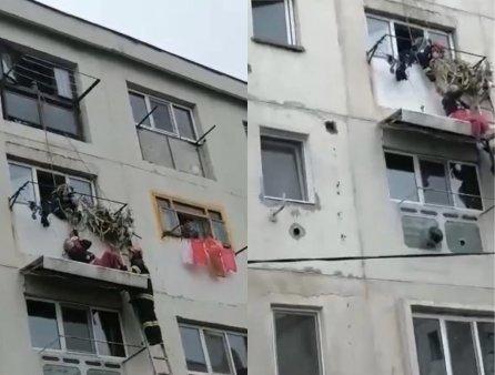 Barbat cazut de la <span style='background:#EDF514'>ETAJUL 4</span>, salvat in ultima clipa. A ramas agatat pe copertina unui apartament VIDEO