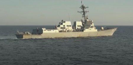 Distrugator rus, la doar cativa metri de o nava americana. Incident militar intre Statele Unite si Rusia VIDEO