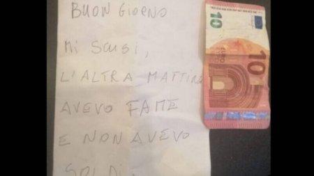 Gestul unui hot din Italia a impresionat toata tara. A furat de foame, dar a doua zi a lasat 10 euro si un bilet
