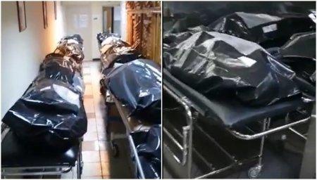 Imagini cutremuratoare, surprinse in Spitalul Universitar din Bucuresti. Cu morga plina, trupurile mortilor de COVID stau pe holuri
