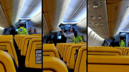 Barbat dat jos din avion la Cluj, pentru ca a refuzat sa poarte masca. Pasagerii au aplaudat