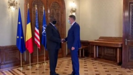 Șeful Penta<span style='background:#EDF514'>GONU</span>lui, Lloyd Austin, primit de Klaus Iohannis la Bucuresti: Va multumesc, domnule presedinte!