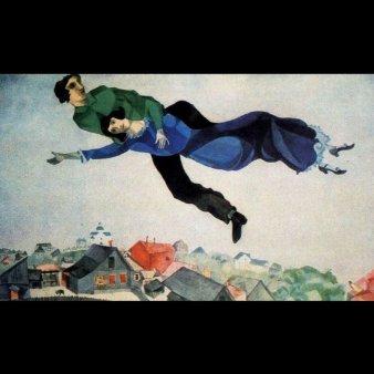 Deasupra orasului, pictura de Marc Chagall, 1913