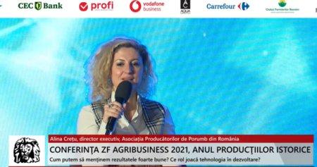 ZF Agribusiness 2021. Anul productiilor istorice. Alina Cretu, <span style='background:#EDF514'>DIRECTOR</span> executiv, Asociatia Producatorilor de Porumb din Romania: Pentru ca marul sa ajunga pe raft sau ca graul sa ajunga in o punga de faina pe raft este nevoie de procesare si de multe fonduri