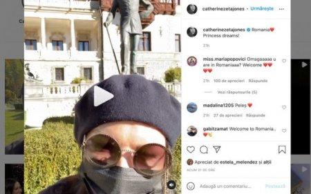 Daca as fi o printesa...Catherine <span style='background:#EDF514'>ZETA</span>-Jones s-a filmat in fata Castelului Peles din Sinaia (VIDEO)