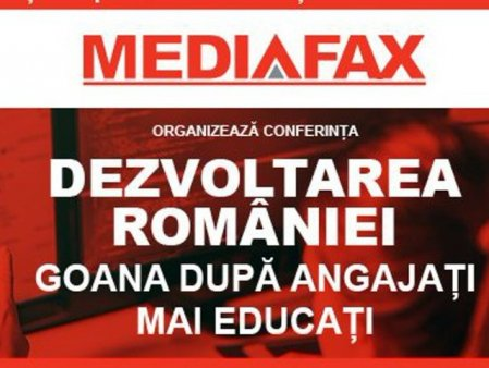 LIVE. Luni, ora 9:30, pe Mediafax.ro: Dezvoltarea Romaniei. Goana dupa angajati mai educati: Cum putem creste investitia in educatie si in ce masura IT-ul va salva economia