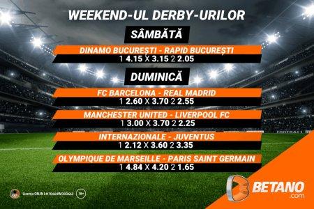 Weekend-ul derby-urilor pe Betano! Vino sa vezi ce sanse au favoritii tai