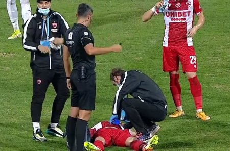 Momente de panica la Dinamo - Rapid » Rauta, urcat cu masca de oxigen in ambulanta