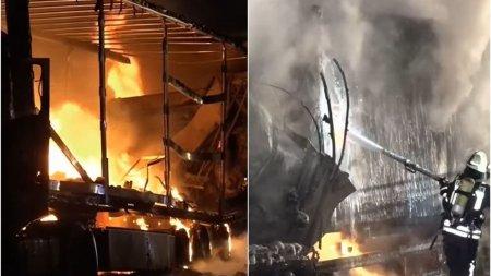 Un sofer roman de TIR, de 30 de ani, a murit ars in cabina. Pagubele materiale ale accidentului din Germania, 700.000 de euro