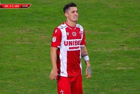 Steliano Filip, inlocuit dupa doar 24 de minute in Dinamo - FC Arges » Ce s-a intamplat cu fundasul cainilor