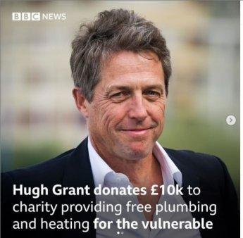 Hugh Grant a donat 10.000 de lire sterline unei fundatii care ofera gratuit instalatii sanitare batranilor si persoanelor <span style='background:#EDF514'>VULNERABILE</span>